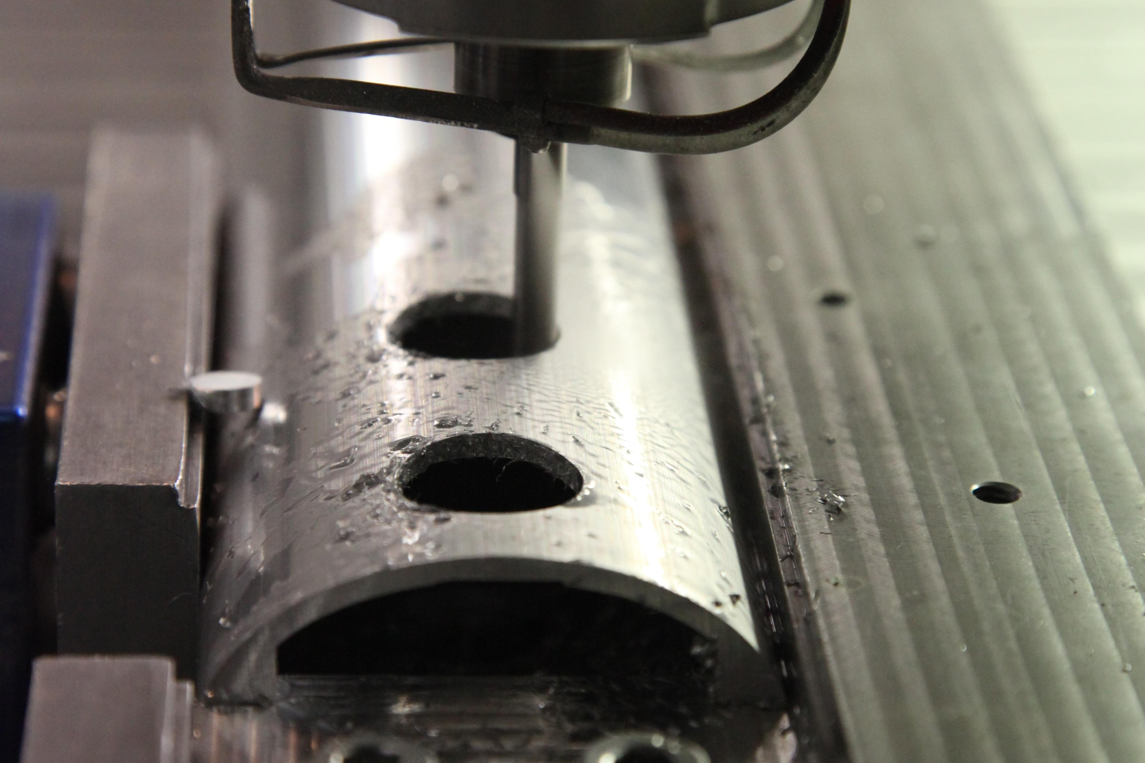 Drilling holes in an aluminium extrusion